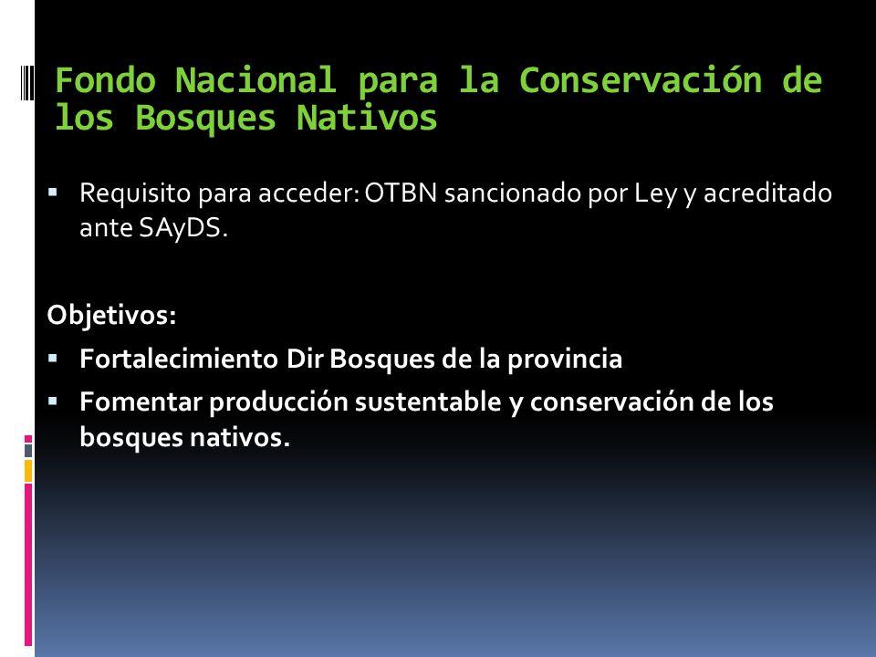 Fondo Nacional para la Conservación de los Bosques Nativos Requisito para acceder: OTBN sancionado por Ley y acreditado ante SAyDS. Objetivos: Fortale