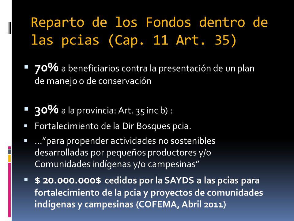 Reparto de los Fondos dentro de las pcias (Cap. 11 Art. 35) 70% a beneficiarios contra la presentación de un plan de manejo o de conservación 30% a la