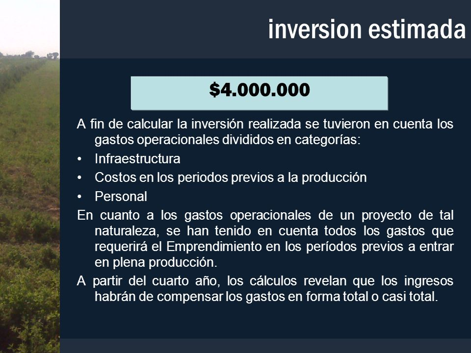 A fin de calcular la inversión realizada se tuvieron en cuenta los gastos operacionales divididos en categorías: Infraestructura Costos en los periodo