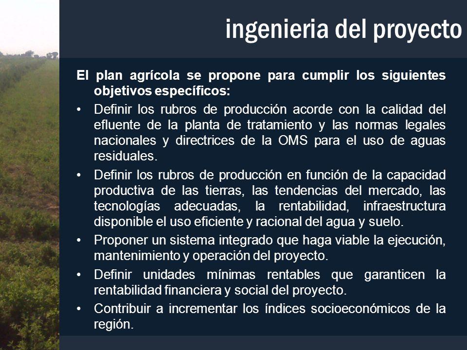 ingenieria del proyecto El plan agrícola se propone para cumplir los siguientes objetivos específicos: Definir los rubros de producción acorde con la