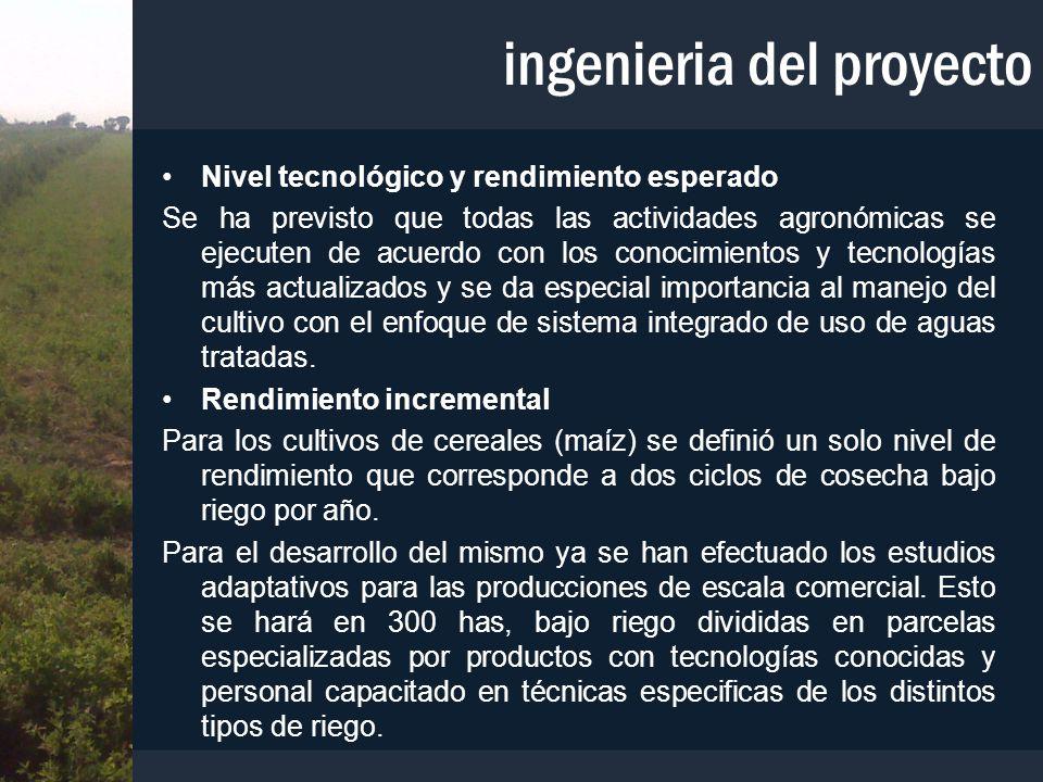 ingenieria del proyecto Nivel tecnológico y rendimiento esperado Se ha previsto que todas las actividades agronómicas se ejecuten de acuerdo con los c
