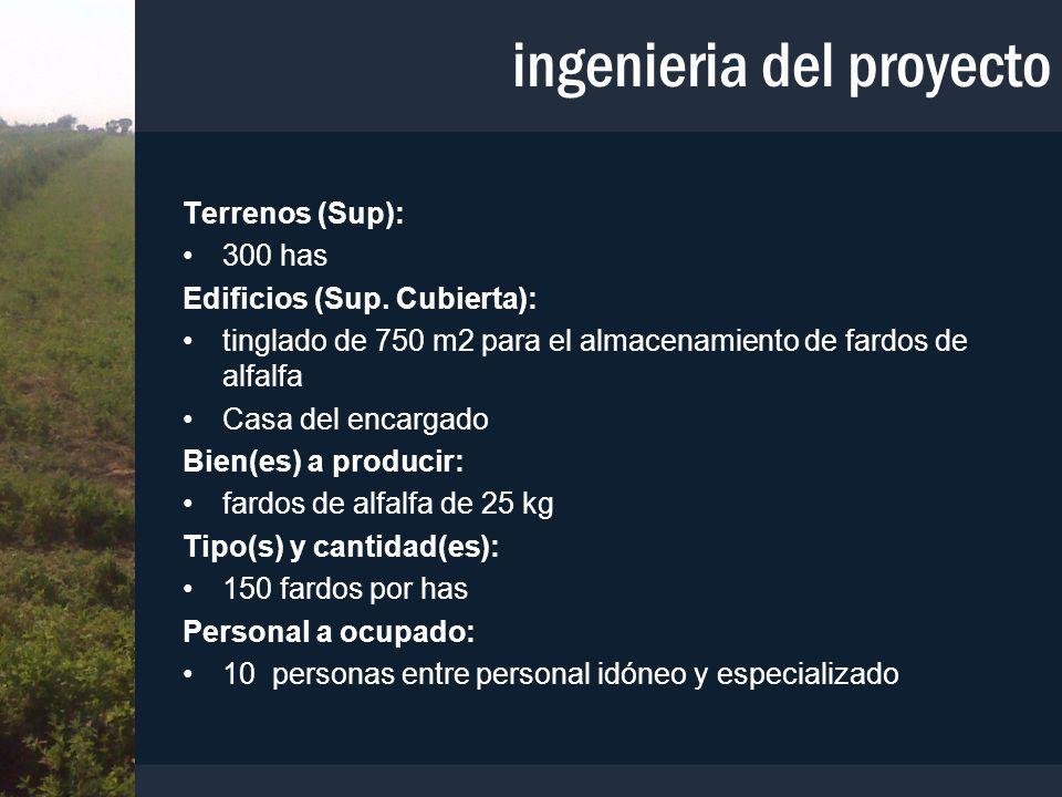 ingenieria del proyecto Terrenos (Sup): 300 has Edificios (Sup. Cubierta): tinglado de 750 m2 para el almacenamiento de fardos de alfalfa Casa del enc