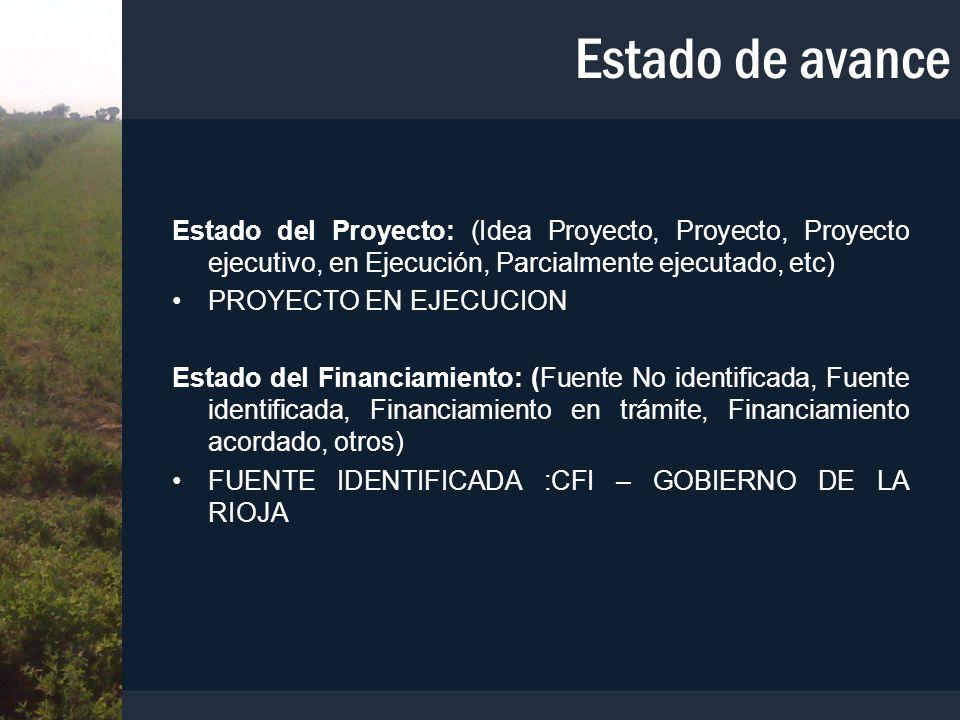 Estado de avance Estado del Proyecto: (Idea Proyecto, Proyecto, Proyecto ejecutivo, en Ejecución, Parcialmente ejecutado, etc) PROYECTO EN EJECUCION E