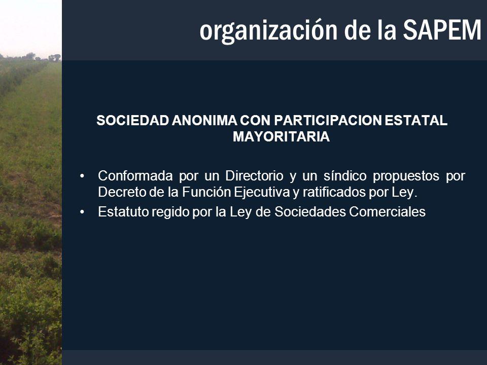 SOCIEDAD ANONIMA CON PARTICIPACION ESTATAL MAYORITARIA Conformada por un Directorio y un síndico propuestos por Decreto de la Función Ejecutiva y rati