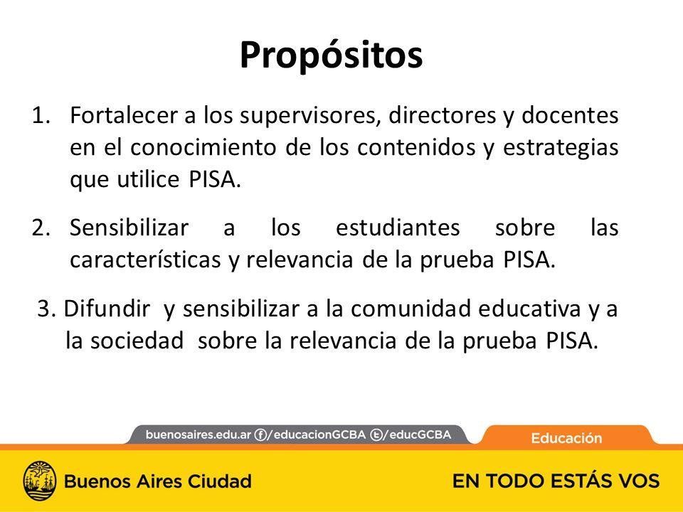 1.Fortalecer a los supervisores, directores y docentes en el conocimiento de los contenidos y estrategias que utilice PISA.