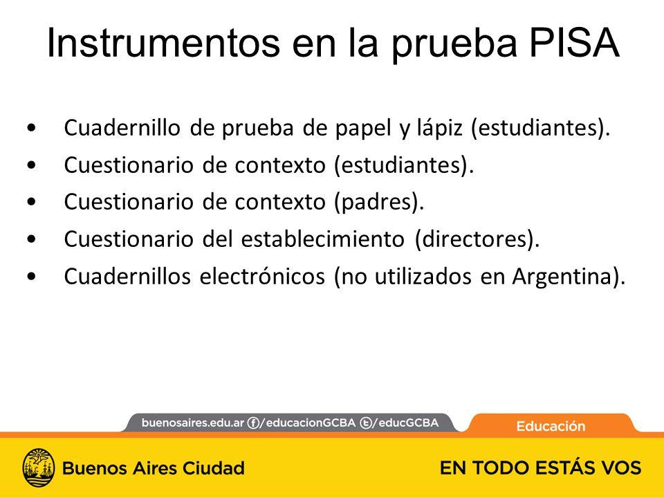 Instrumentos en la prueba PISA Cuadernillo de prueba de papel y lápiz (estudiantes).