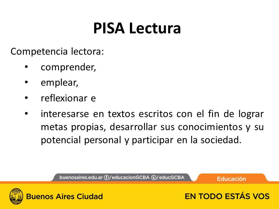 PISA Lectura Competencia lectora: comprender, emplear, reflexionar e interesarse en textos escritos con el fin de lograr metas propias, desarrollar sus conocimientos y su potencial personal y participar en la sociedad.