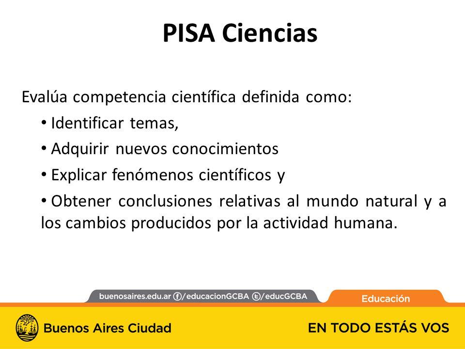 PISA Ciencias Evalúa competencia científica definida como: Identificar temas, Adquirir nuevos conocimientos Explicar fenómenos científicos y Obtener conclusiones relativas al mundo natural y a los cambios producidos por la actividad humana.