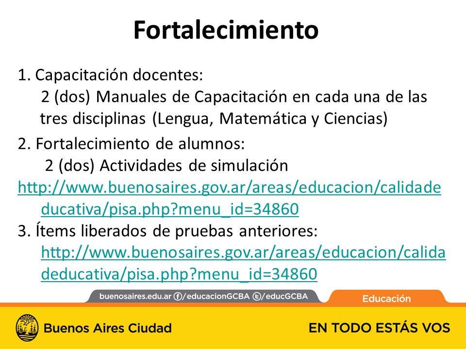 1. Capacitación docentes: 2 (dos) Manuales de Capacitación en cada una de las tres disciplinas (Lengua, Matemática y Ciencias) 2. Fortalecimiento de a