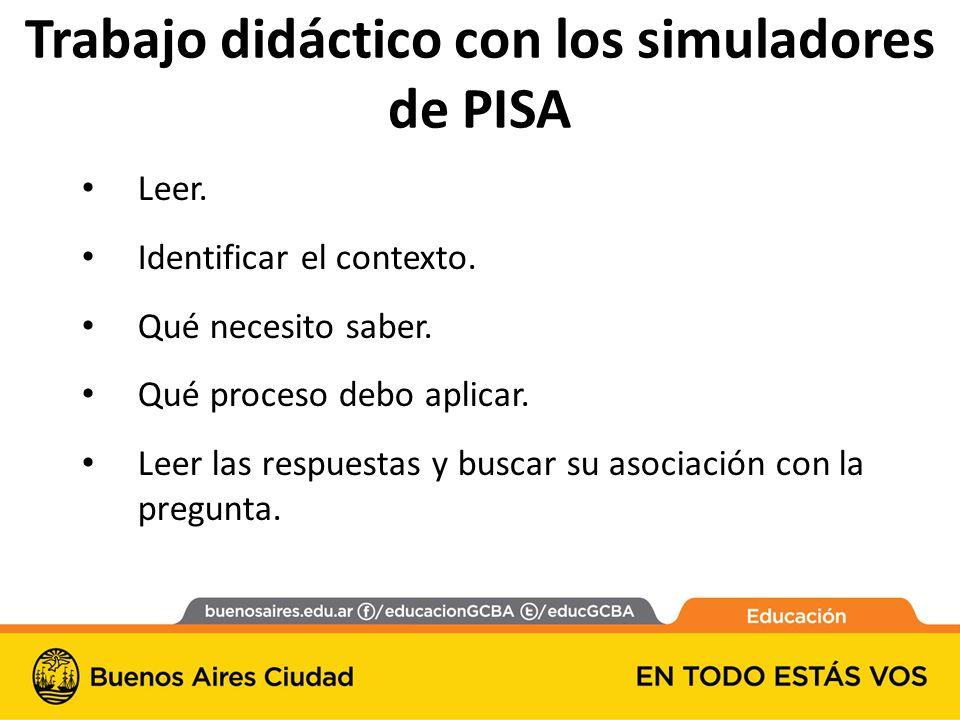 Trabajo didáctico con los simuladores de PISA Leer.