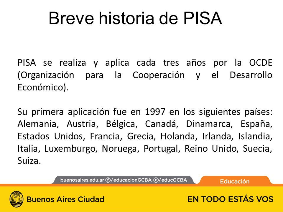 PISA se realiza y aplica cada tres años por la OCDE (Organización para la Cooperación y el Desarrollo Económico).