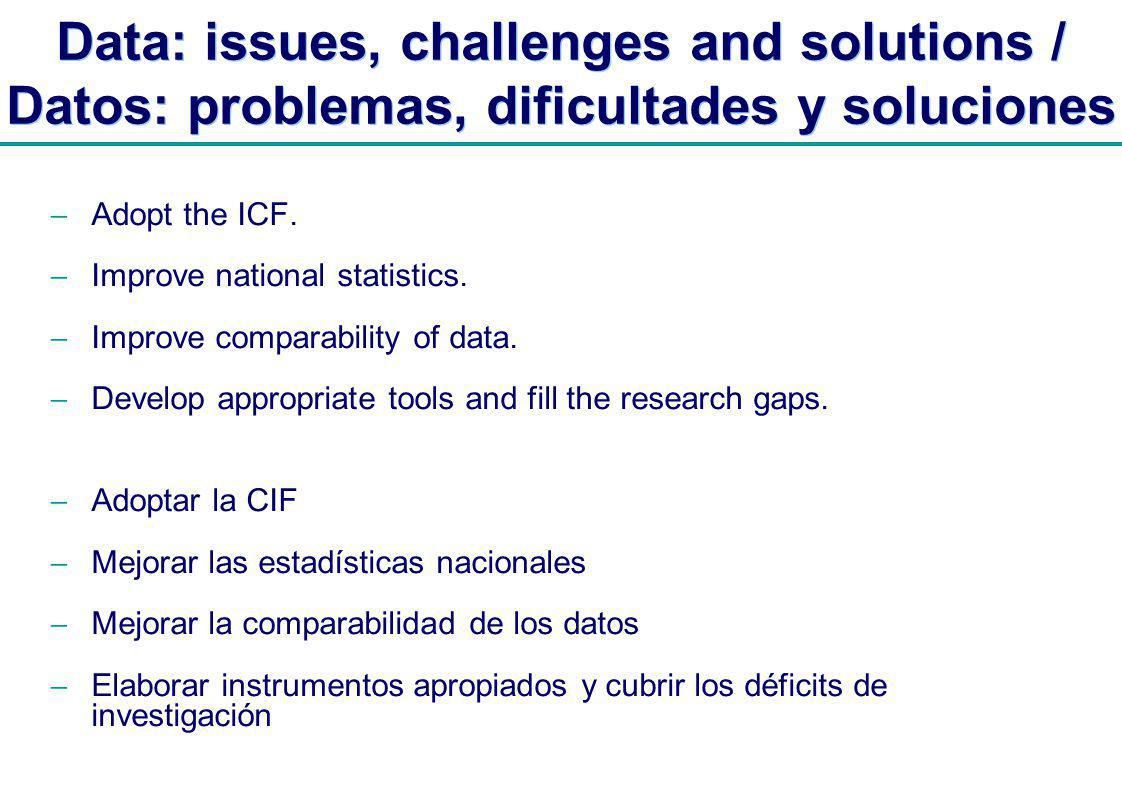 | Data: issues, challenges and solutions / Datos: problemas, dificultades y soluciones Adopt the ICF.