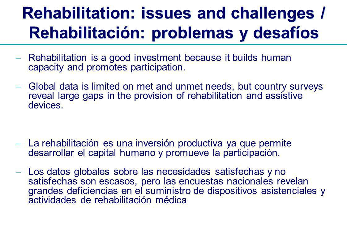 | Rehabilitation: issues and challenges / Rehabilitación: problemas y desafíos Rehabilitation is a good investment because it builds human capacity and promotes participation.