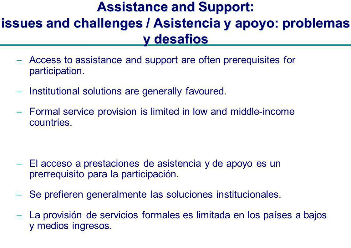 | Assistance and Support: issues and challenges / Asistencia y apoyo: problemas y desafios Access to assistance and support are often prerequisites for participation.