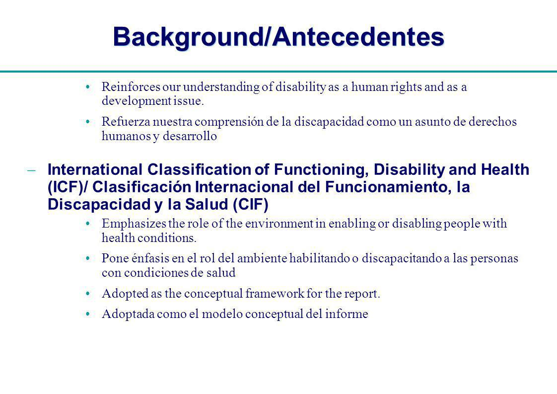 | Background/Antecedentes Reinforces our understanding of disability as a human rights and as a development issue.