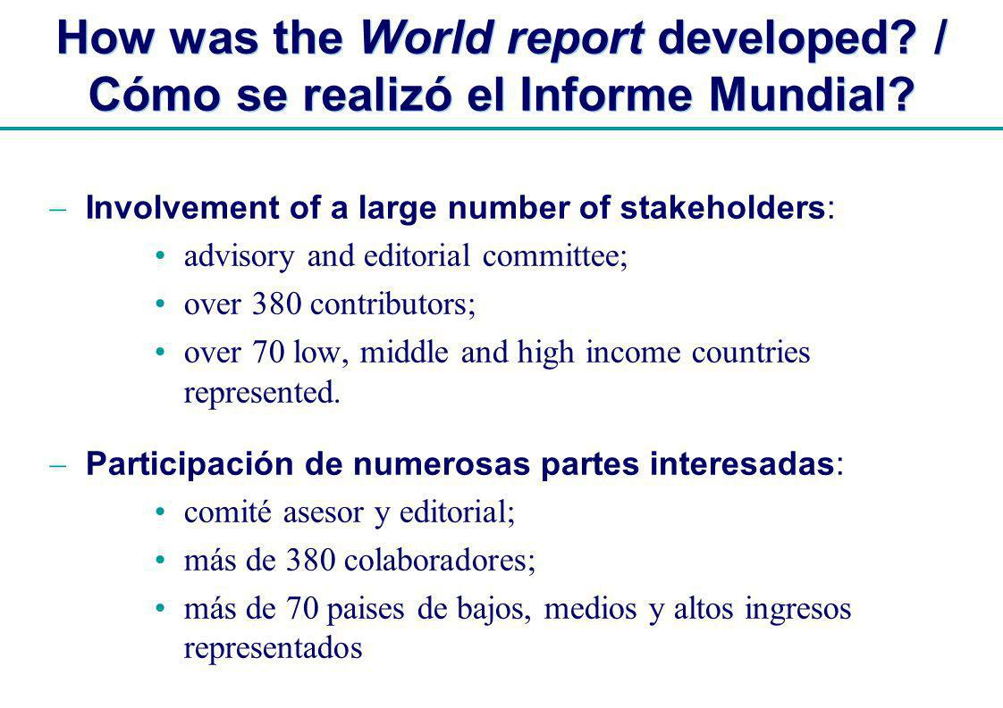 | How was the World report developed. / Cómo se realizó el Informe Mundial.