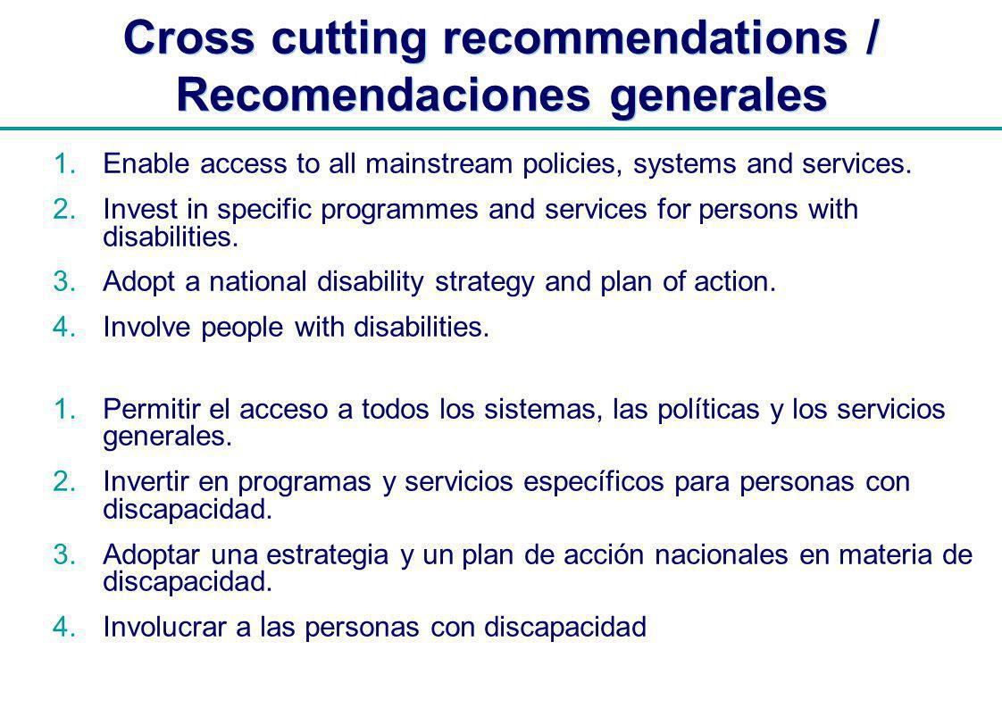 | Cross cutting recommendations / Recomendaciones generales Enable access to all mainstream policies, systems and services.