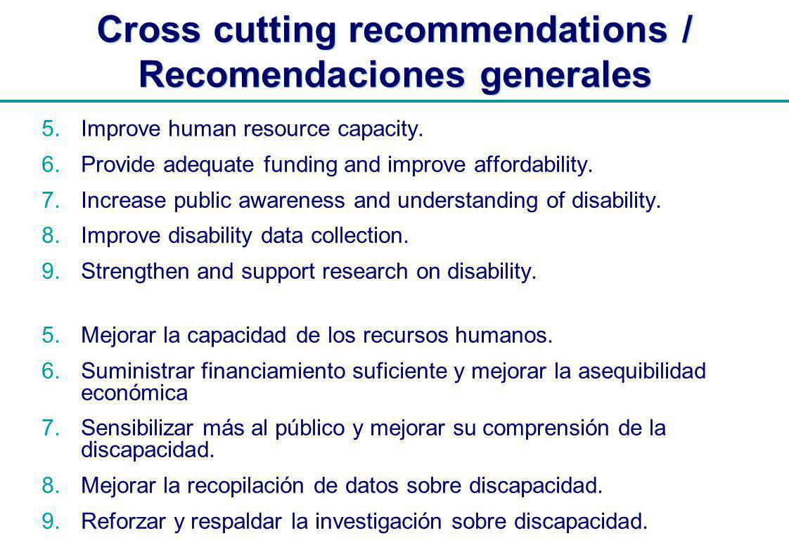 | Cross cutting recommendations / Recomendaciones generales 5.Improve human resource capacity.