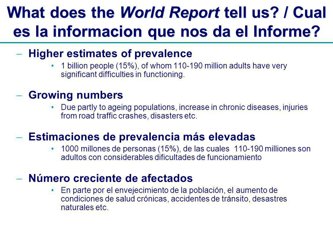 | What does the World Report tell us. / Cual es la informacion que nos da el Informe.