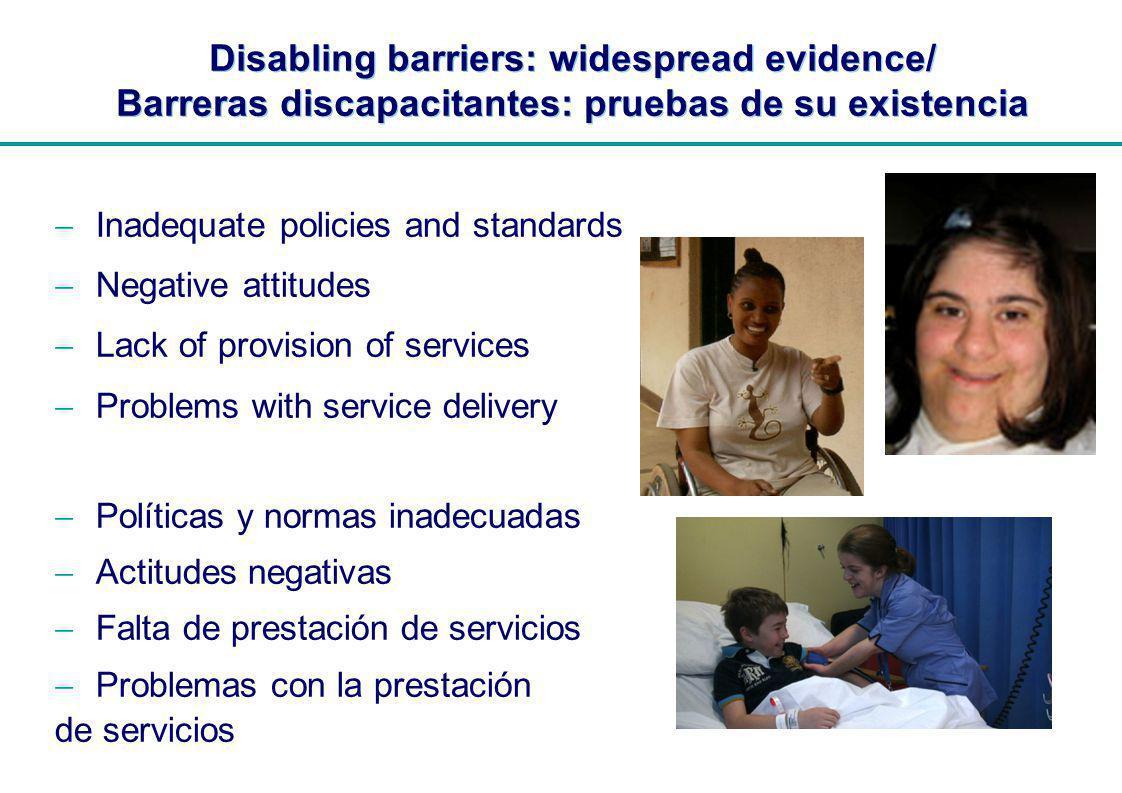 | Disabling barriers: widespread evidence/ Barreras discapacitantes: pruebas de su existencia Inadequate policies and standards Negative attitudes Lac