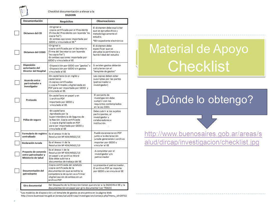 Material de Apoyo Checklist ¿Dónde lo obtengo? http://www.buenosaires.gob.ar/areas/s alud/dircap/investigacion/checklist.jpg