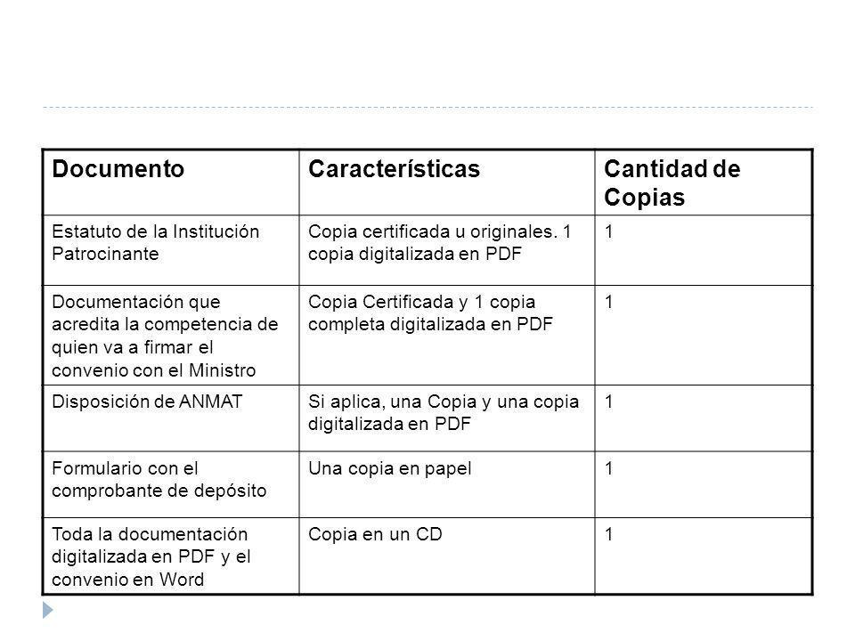 DocumentoCaracterísticasCantidad de Copias Estatuto de la Institución Patrocinante Copia certificada u originales. 1 copia digitalizada en PDF 1 Docum