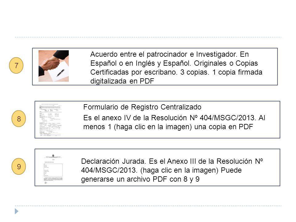 DocumentoCaracterísticasCantidad de Copias Estatuto de la Institución Patrocinante Copia certificada u originales.