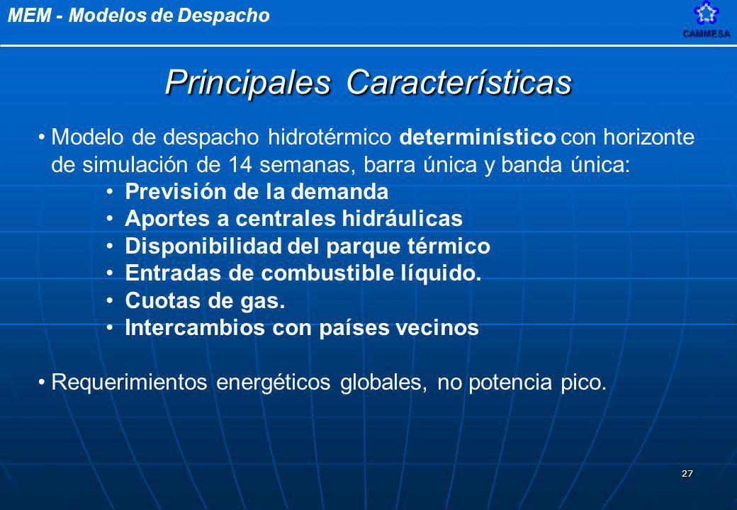 MEM - Modelos de DespachoCAMMESA 27 Principales Características Modelo de despacho hidrotérmico determinístico con horizonte de simulación de 14 seman