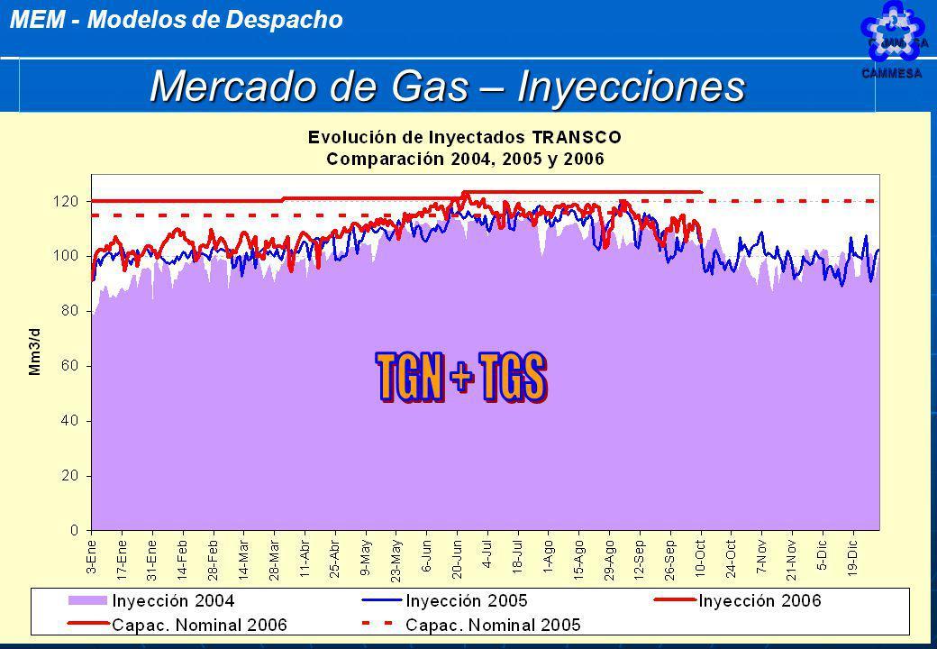MEM - Modelos de DespachoCAMMESA 52 Mercado de Gas – Inyecciones CAMMESA