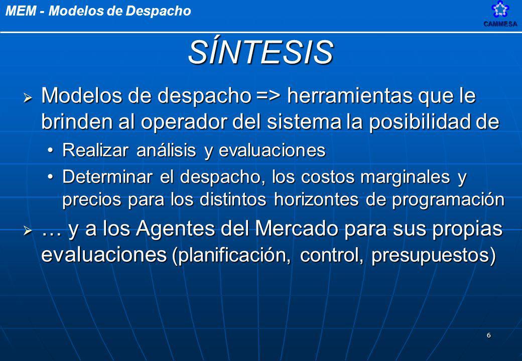 MEM - Modelos de DespachoCAMMESA 47 DEMANDA PREVISIÓN TÉRMICA MANTENIMIENTOS TRANSPORTE CURVA CONTRATOS IMP/ EXP FIRME OFERTAS SRI PREVISIÓN HIDRÁULICA NUEVOS AGENTES Y CONTRATOS PROGRAMACIÓN SEMANAL DELTAS FACTORES DE NODO BASE DE DATOS DIARIA HIDRÁULICO POR CURVA JUANA PRIMER PREDESPACHO DESPACHO DE RPF PREDESPACHO BÁSICO COMAHUE PROGRAMACIÓN E ESTACIONAL ATENCIÓN AGENTES HABILITACIÓN DE IMPORTACIÓN Y EXPORTACIÓN SPOT Conformación Base de Datos Diaria Primer Predespacho Predespacho Básico
