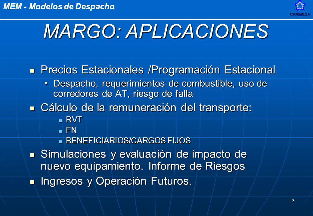 MEM - Modelos de DespachoCAMMESA 8 Objetivos Principales Objetivos Principales Determinación de los cargos de transporte y precios estacionales a distribuidores para la energía y la potencia.Determinación de los cargos de transporte y precios estacionales a distribuidores para la energía y la potencia.