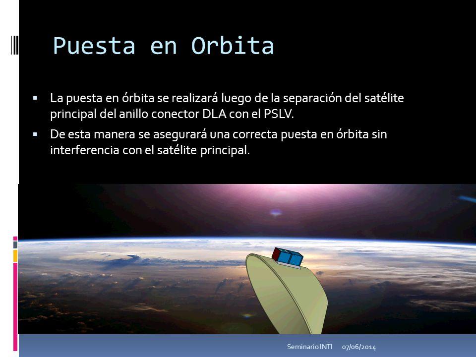 Puesta en Orbita La puesta en órbita se realizará luego de la separación del satélite principal del anillo conector DLA con el PSLV. De esta manera se
