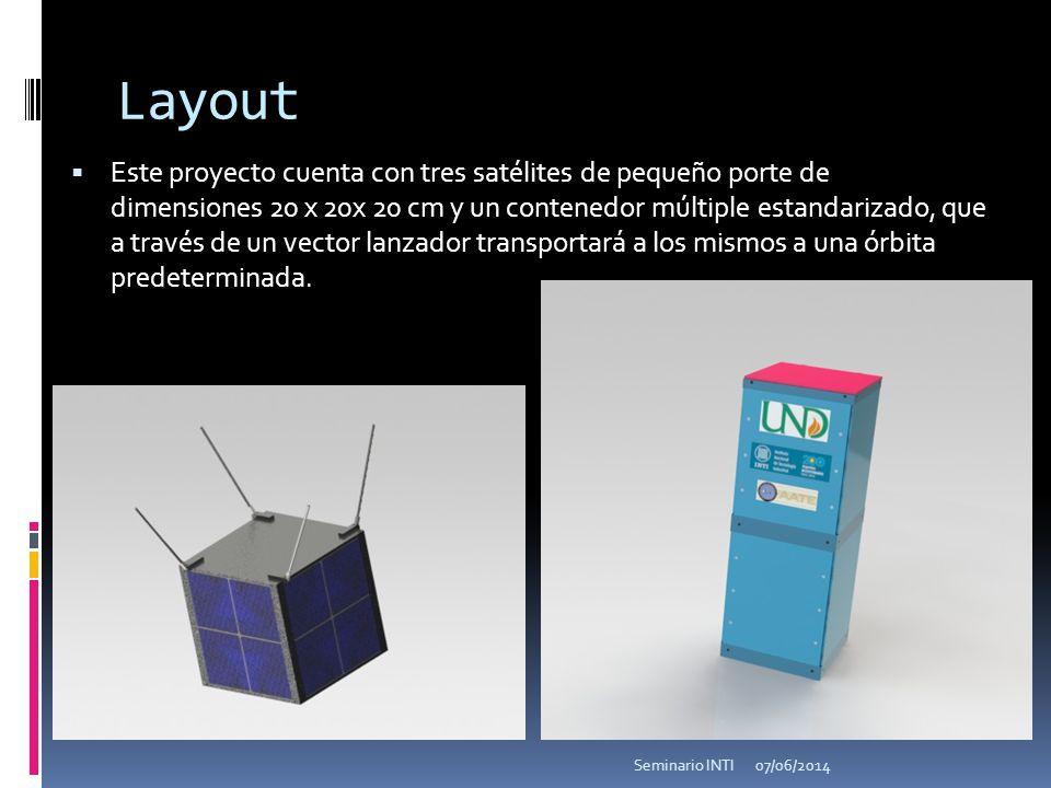 Layout Este proyecto cuenta con tres satélites de pequeño porte de dimensiones 20 x 20x 20 cm y un contenedor múltiple estandarizado, que a través de un vector lanzador transportará a los mismos a una órbita predeterminada.