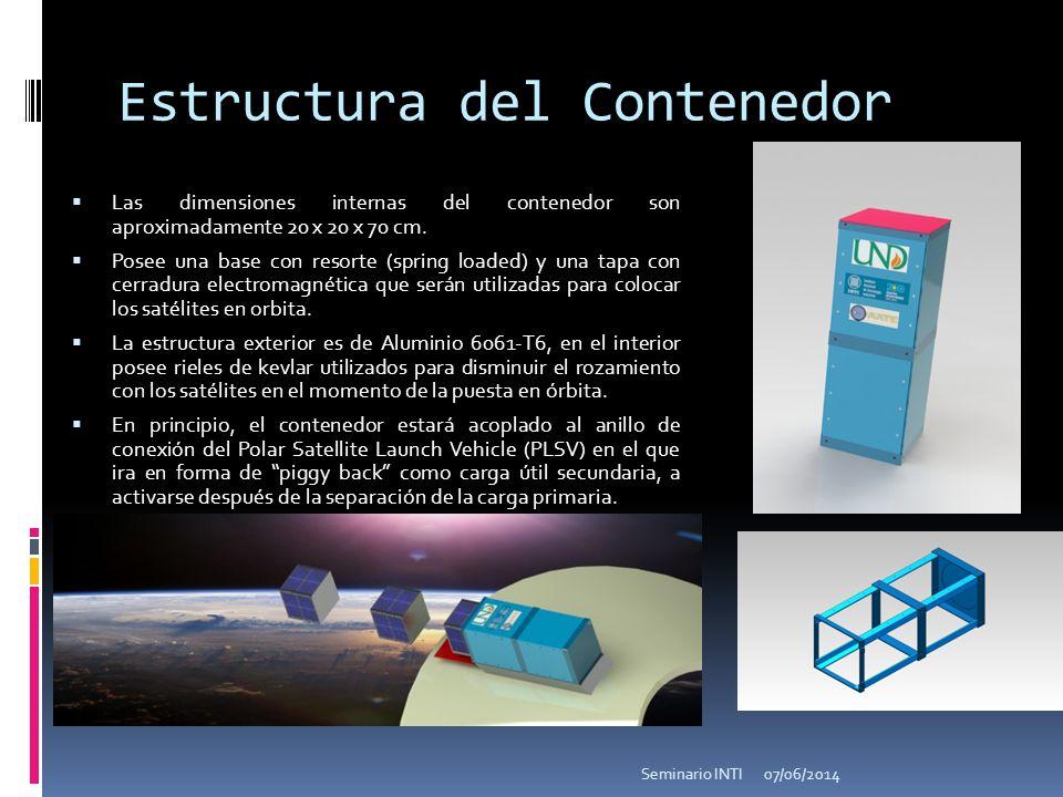 Estructura del Contenedor Las dimensiones internas del contenedor son aproximadamente 20 x 20 x 70 cm. Posee una base con resorte (spring loaded) y un