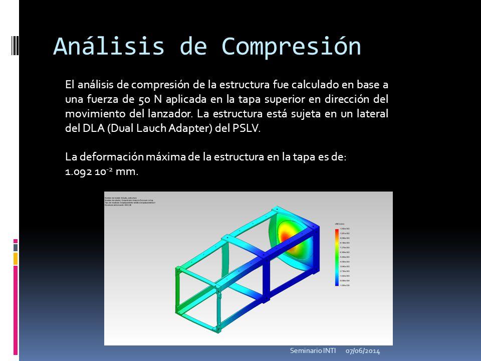 Análisis de Compresión El análisis de compresión de la estructura fue calculado en base a una fuerza de 50 N aplicada en la tapa superior en dirección del movimiento del lanzador.