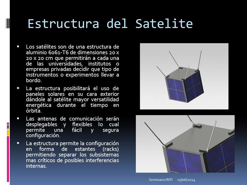 Estructura del Satelite Los satélites son de una estructura de aluminio 6061-T6 de dimensiones 20 x 20 x 20 cm que permitirán a cada una de las universidades, institutos o empresas privadas decidir que tipo de instrumentos o experimentos llevar a bordo.