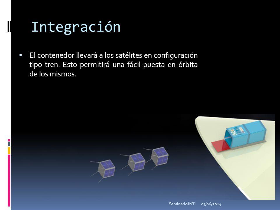 Integración El contenedor llevará a los satélites en configuración tipo tren. Esto permitirá una fácil puesta en órbita de los mismos. 07/06/2014Semin