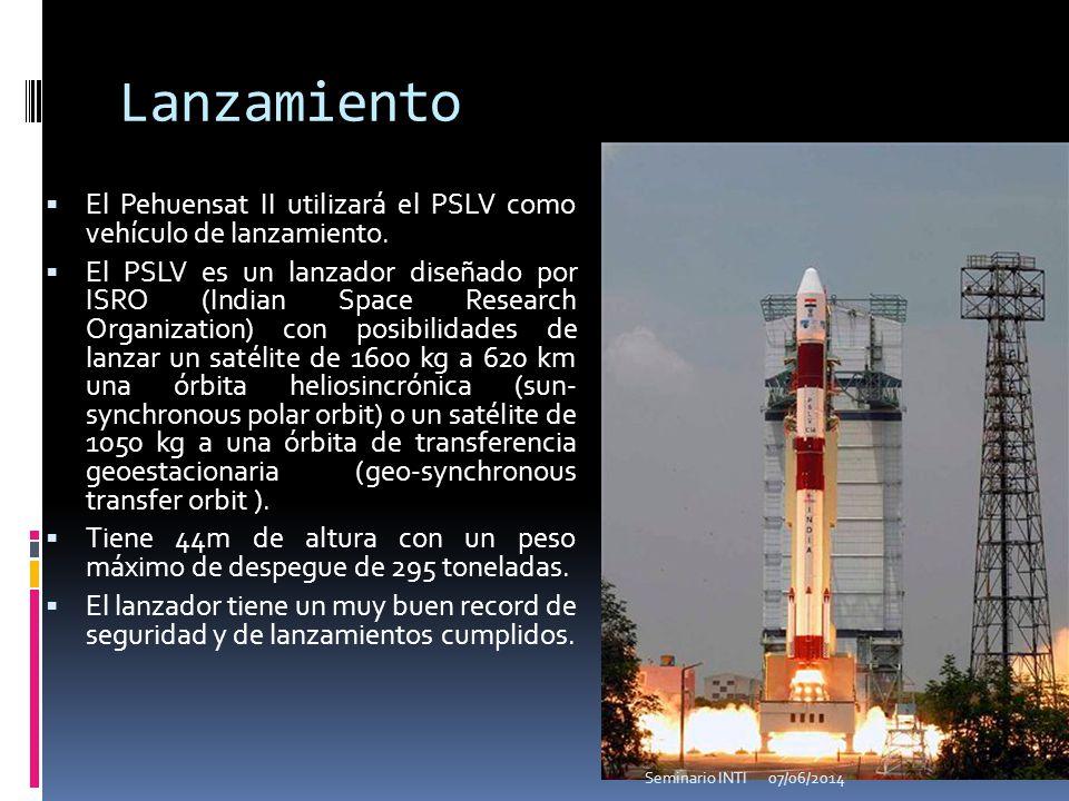 Lanzamiento El Pehuensat II utilizará el PSLV como vehículo de lanzamiento. El PSLV es un lanzador diseñado por ISRO (Indian Space Research Organizati