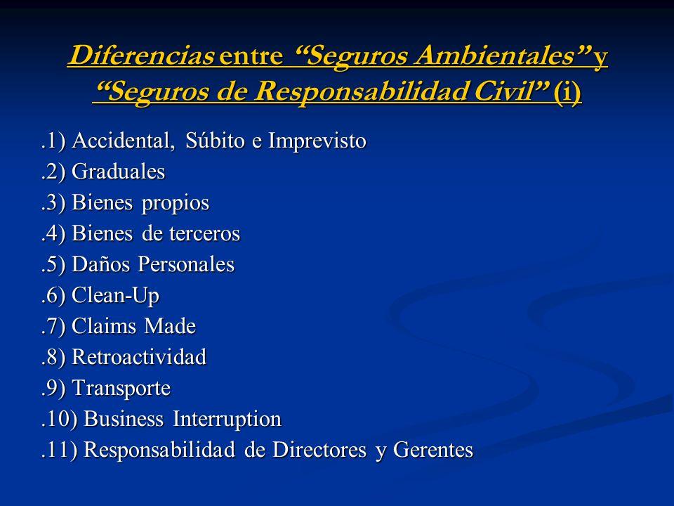 Diferencias entre Seguros Ambientales y Seguros de Responsabilidad Civil (i).1) Accidental, Súbito e Imprevisto.2) Graduales.3) Bienes propios.4) Bienes de terceros.5) Daños Personales.6) Clean-Up.7) Claims Made.8) Retroactividad.9) Transporte.10) Business Interruption.11) Responsabilidad de Directores y Gerentes