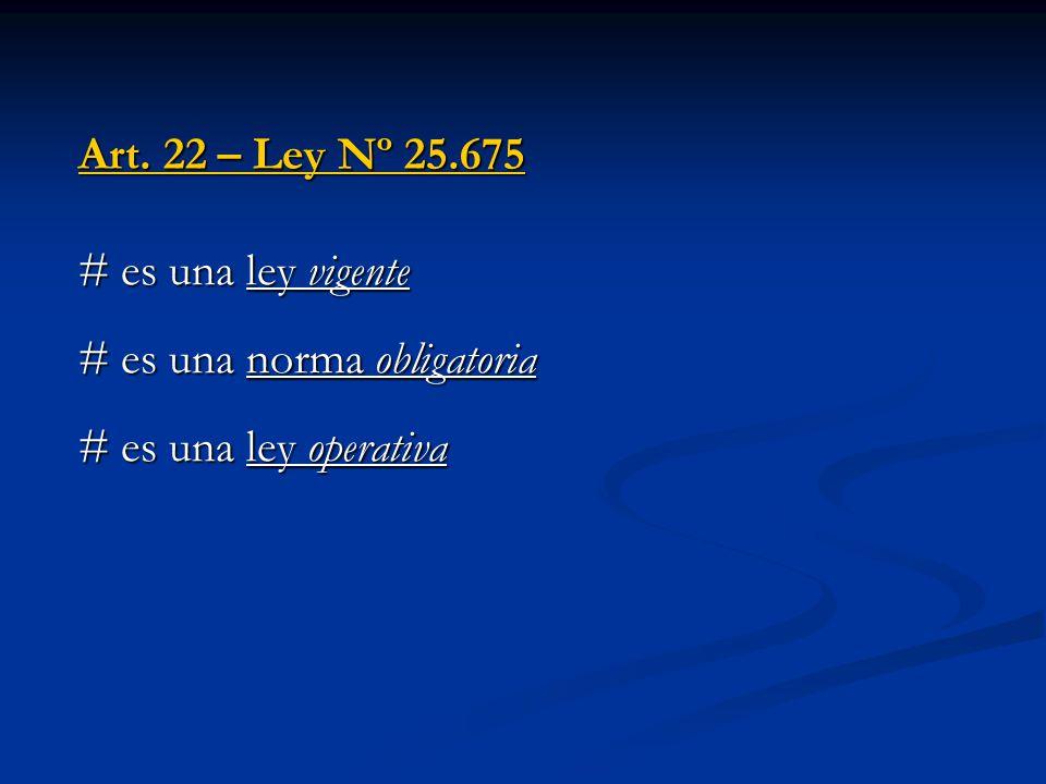 # es una ley vigente # es una norma obligatoria # es una ley operativa Art. 22 – Ley Nº 25.675