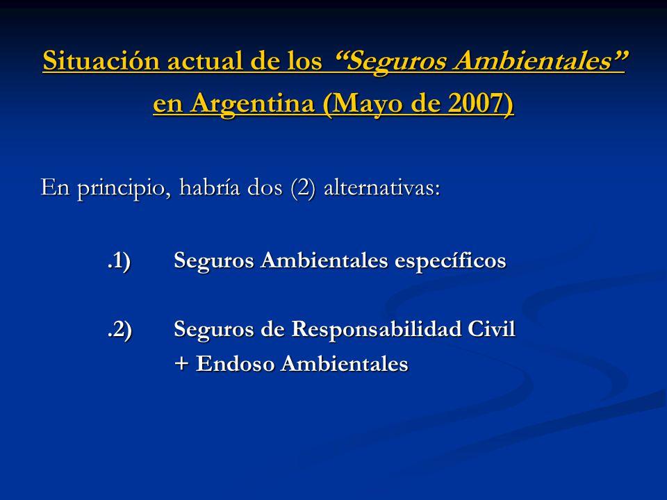Situación actual de los Seguros Ambientales en Argentina (Mayo de 2007) En principio, habría dos (2) alternativas:.1) Seguros Ambientales específicos.2) Seguros de Responsabilidad Civil + Endoso Ambientales + Endoso Ambientales