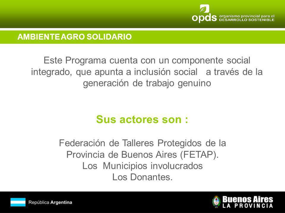 AMBIENTE AGRO SOLIDARIO Este Programa cuenta con un componente social integrado, que apunta a inclusión social a través de la generación de trabajo genuino Federación de Talleres Protegidos de la Provincia de Buenos Aires (FETAP).