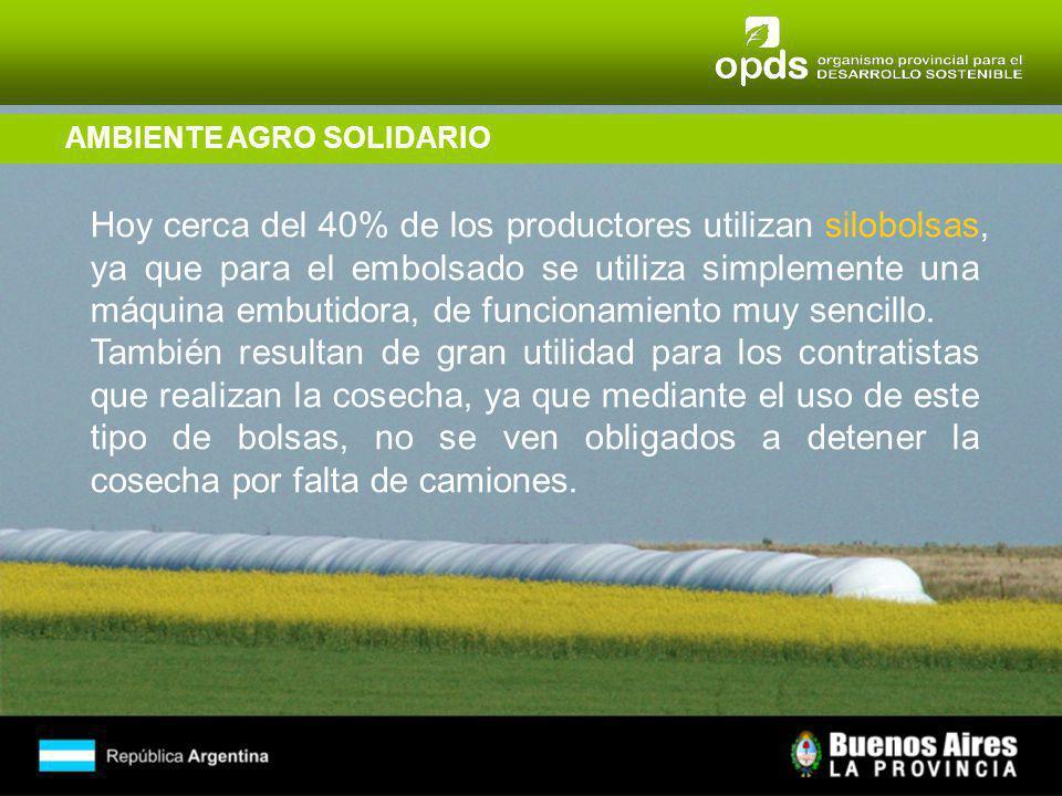 AMBIENTE AGRO SOLIDARIO Hoy cerca del 40% de los productores utilizan silobolsas, ya que para el embolsado se utiliza simplemente una máquina embutidora, de funcionamiento muy sencillo.