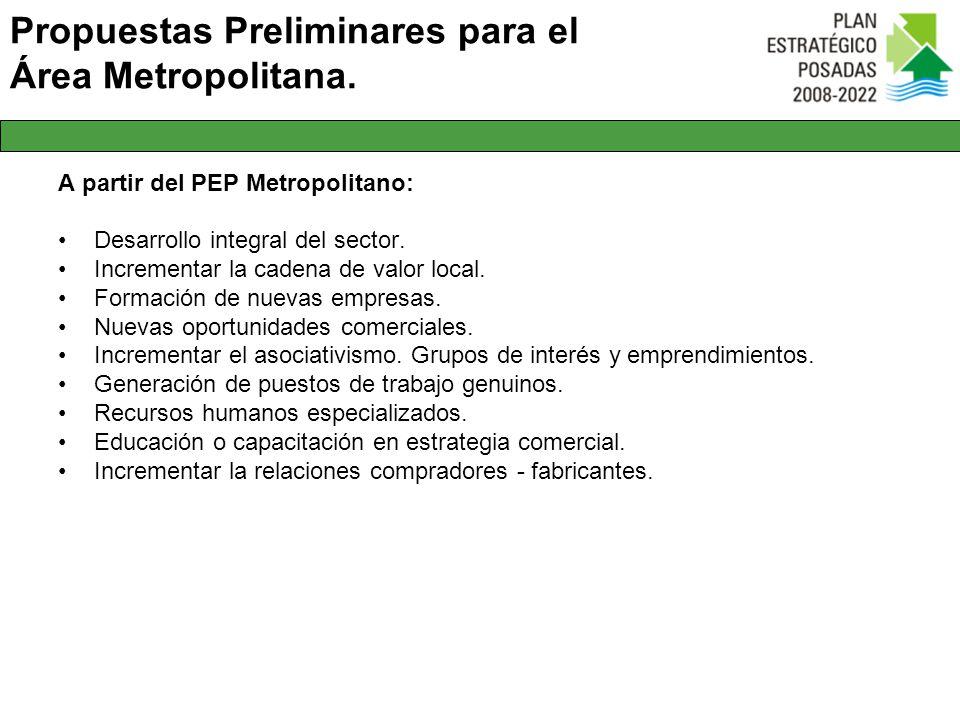 Propuestas Preliminares para el Área Metropolitana. A partir del PEP Metropolitano: Desarrollo integral del sector. Incrementar la cadena de valor loc