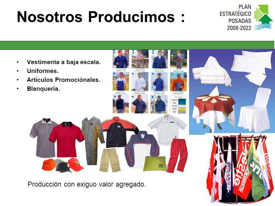 Nosotros Producimos : Vestimenta a baja escala. Uniformes. Artículos Promociónales. Blanquería. Producción con exiguo valor agregado.