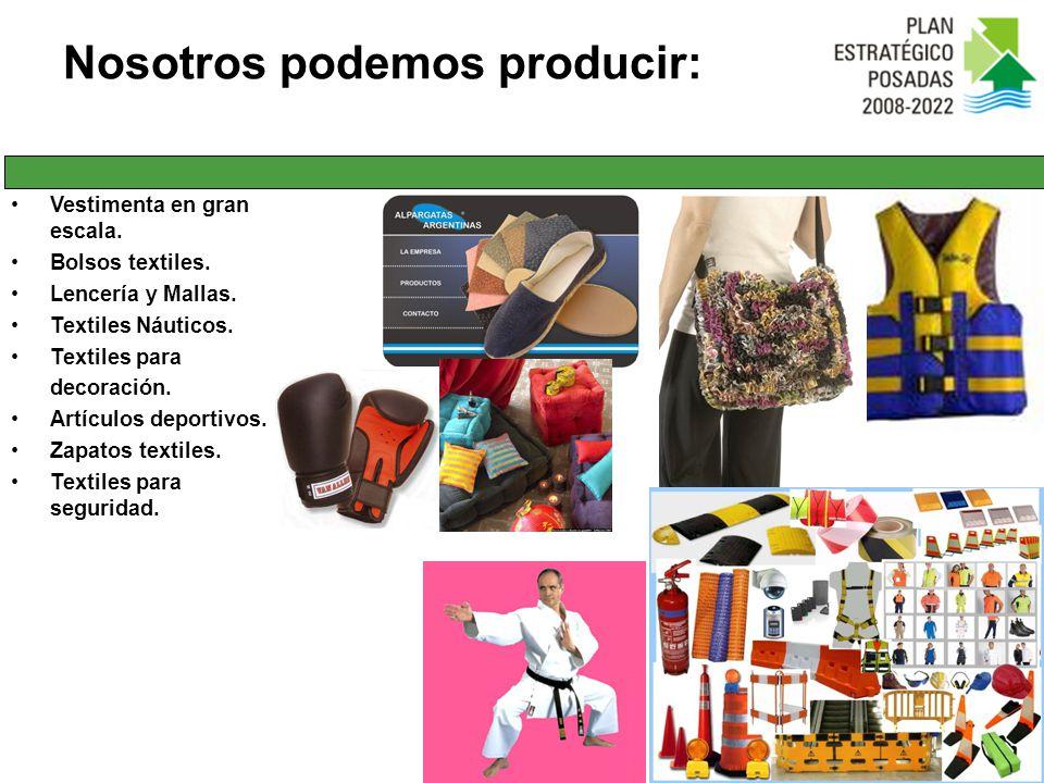 Vestimenta en gran escala. Bolsos textiles. Lencería y Mallas. Textiles Náuticos. Textiles para decoración. Artículos deportivos. Zapatos textiles. Te