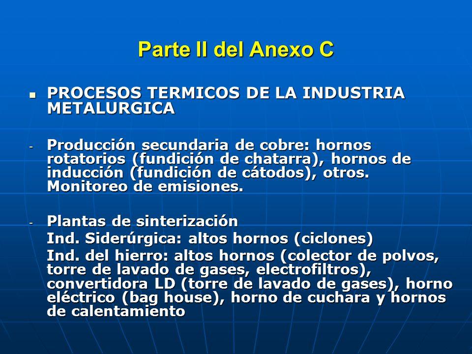 Parte II del Anexo C PROCESOS TERMICOS DE LA INDUSTRIA METALURGICA PROCESOS TERMICOS DE LA INDUSTRIA METALURGICA -Producción secundaria de aluminio: hornos rotatorios o de inducción.