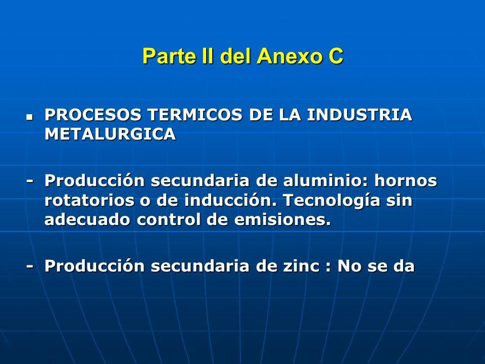 Parte III del Anexo C QUEMA A CIELO ABIERTO QUEMA A CIELO ABIERTO Principalmente de desechos domésticos no dispuestos en rellenos sanitarios autorizados PROCESOS TERMICOS PROCESOS TERMICOS - Producción secundaria de Pb: Fábricas de baterías y refinadoras de plomo.