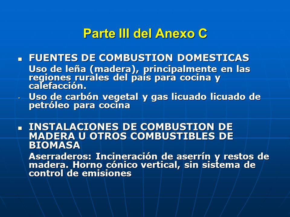 Parte III del Anexo C INSTALACIONES DE COMBUSTION DE OTROS COMBUSTIBLES DE BIOMASA INSTALACIONES DE COMBUSTION DE OTROS COMBUSTIBLES DE BIOMASA Centrales de biomasa: uso de bagazo de la caña de azúcar como combustible para generación térmica COMBUSTION DE COMBUSTIBLES FOSILES EN CENTRALES TERMOELECTRICAS O CALDERAS INDUSTRIALES COMBUSTION DE COMBUSTIBLES FOSILES EN CENTRALES TERMOELECTRICAS O CALDERAS INDUSTRIALES - 281 centrales térmicas para generación eléctrica y generación de energía calorífica (diesel 1, diesel 2, residual 6, residual 500, carbón, gas natural, GLP)