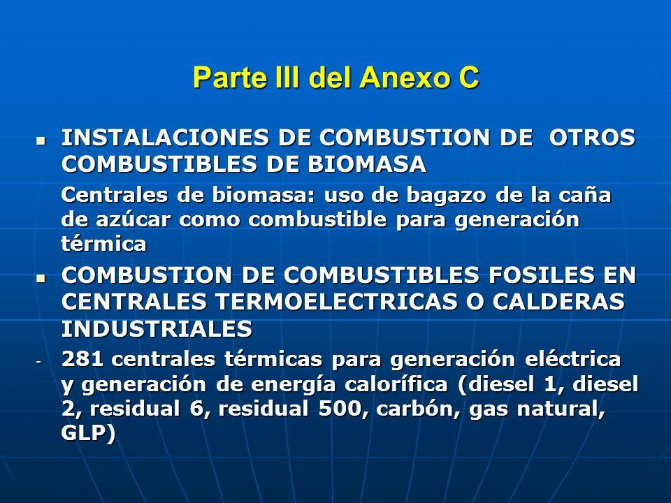 Parte III del Anexo C PROCESOS DE PRODUCCION DE PRODUCTOS QUIMICOS DETERMINADOS PROCESOS DE PRODUCCION DE PRODUCTOS QUIMICOS DETERMINADOS No se produce pentaclorofenol, cloroanil, pentaclorofenato sódico, PCBs, clorofenol y derivados, clorobenceno.